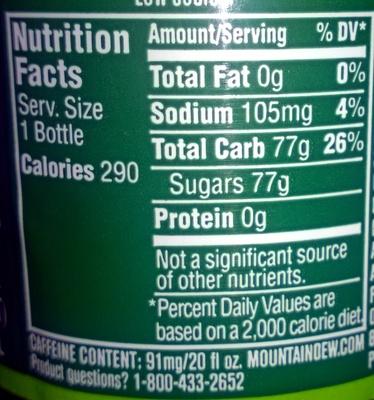 Mtn Dew - Nutrition facts - en