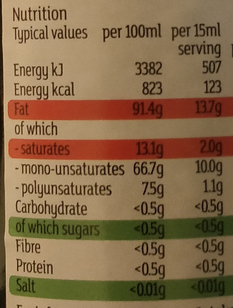 Organic Unfiltered Extra virgin olive oil - Nutrition facts - en