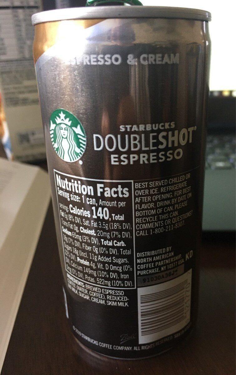 Starbucks Doubleshot Espresso and Cream - Product - en