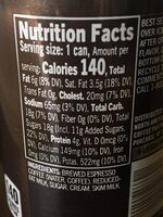 Starbucks Doubleshot Espresso and Cream - Nutrition facts - en
