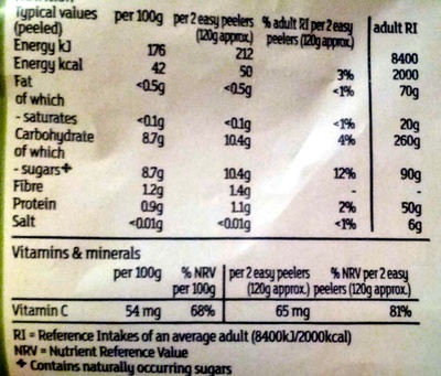 easy peelers - Informations nutritionnelles - en