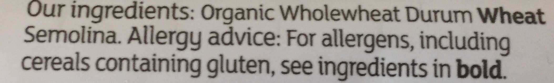Sainsbury's Organic Wholewheat Spaghetti - Ingredients