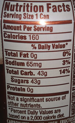 Mug Root Beer - Nutrition facts