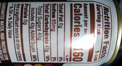 Mug Root Beer - Valori nutrizionali - en