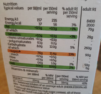 Juicy & zingy smooth orange juice - Informations nutritionnelles - en