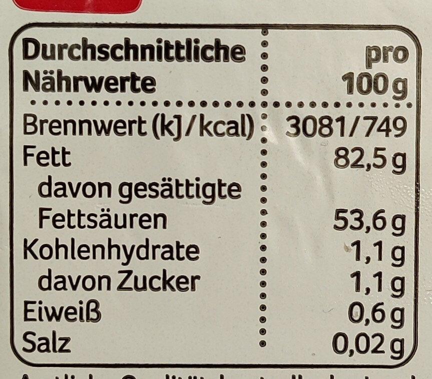Deutsche Markenbutter aus Weidemilch - Informations nutritionnelles - de