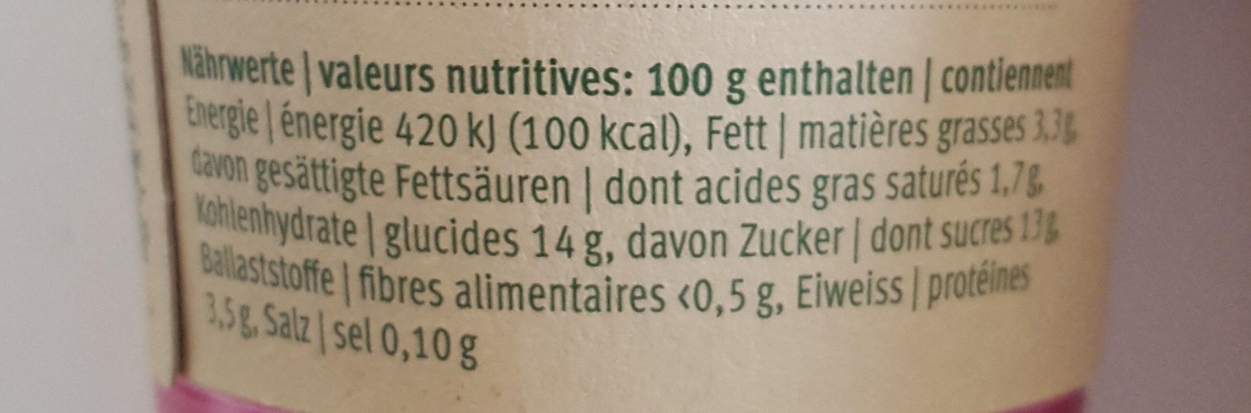 Cassis yogurt - Valori nutrizionali - fr