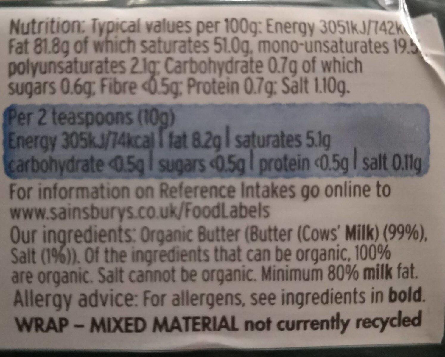 Sainsbury's organic slightly salted butter - Nutrition facts