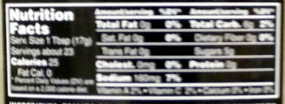 Balsamic Vinegar Tomato Ketchup - Informations nutritionnelles - en