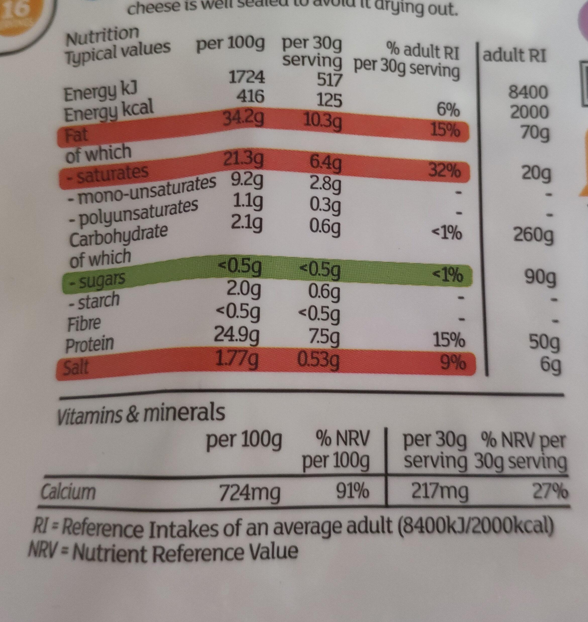 Grated Medium British Cheddar - Informations nutritionnelles - fr