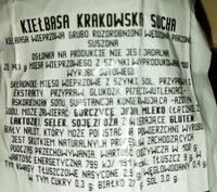 Krakowska Sucha - Ingrediënten - pl