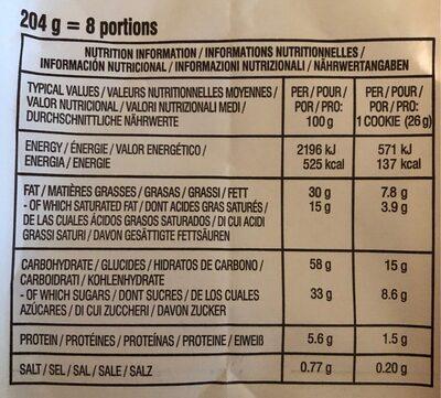Chocolate Chunk - Voedingswaarden - fr