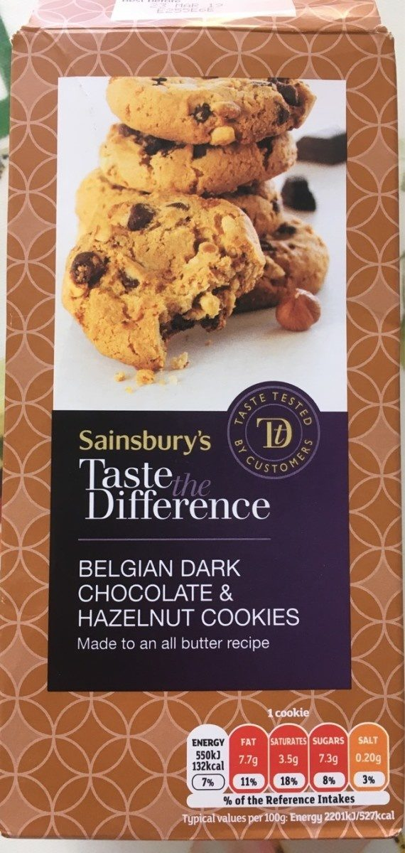 Belgian dark chocolate & hazelnut cookies - Product