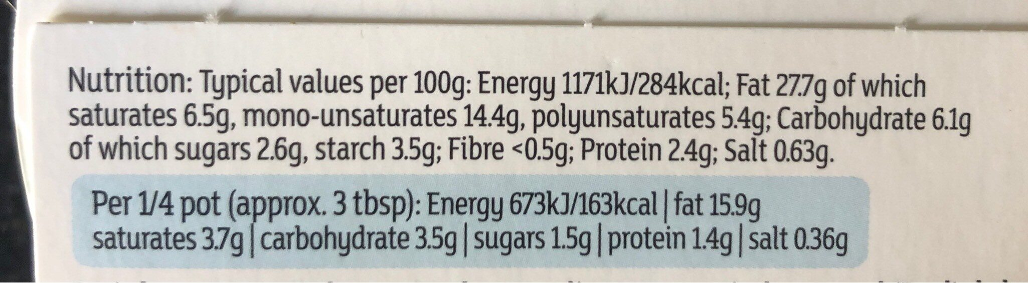 Soured cream & chive dip - Voedingswaarden - en