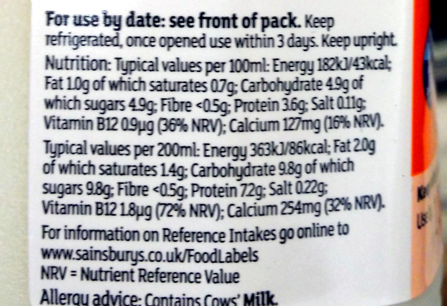 1% fat British milk - Nutrition facts - en