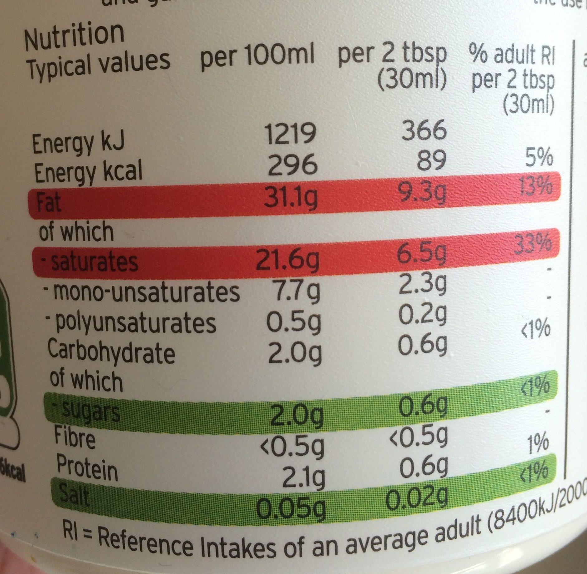 Crème fraîche - Voedingswaarden - en