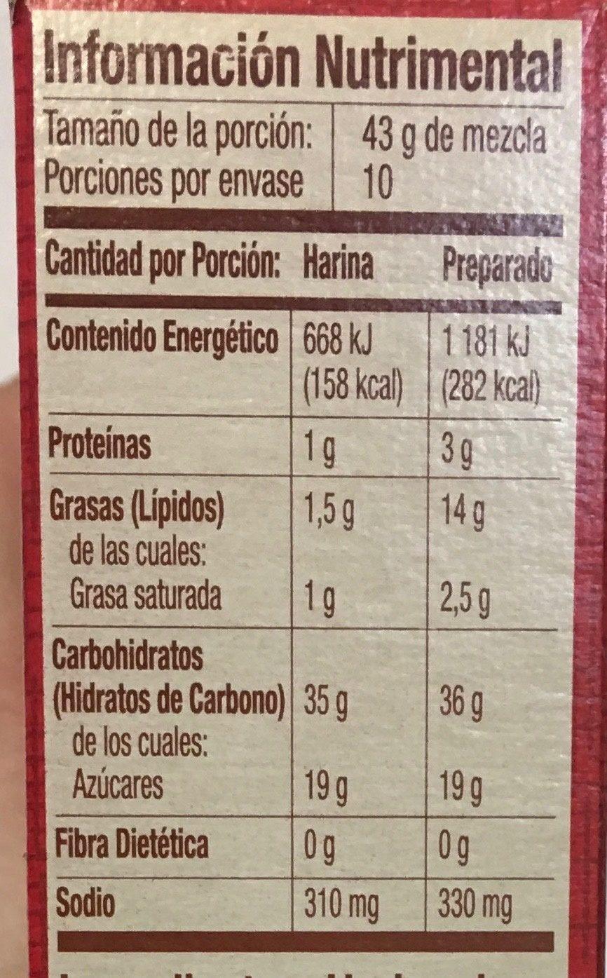 Harina para preparar pastel amarillo - Informations nutritionnelles
