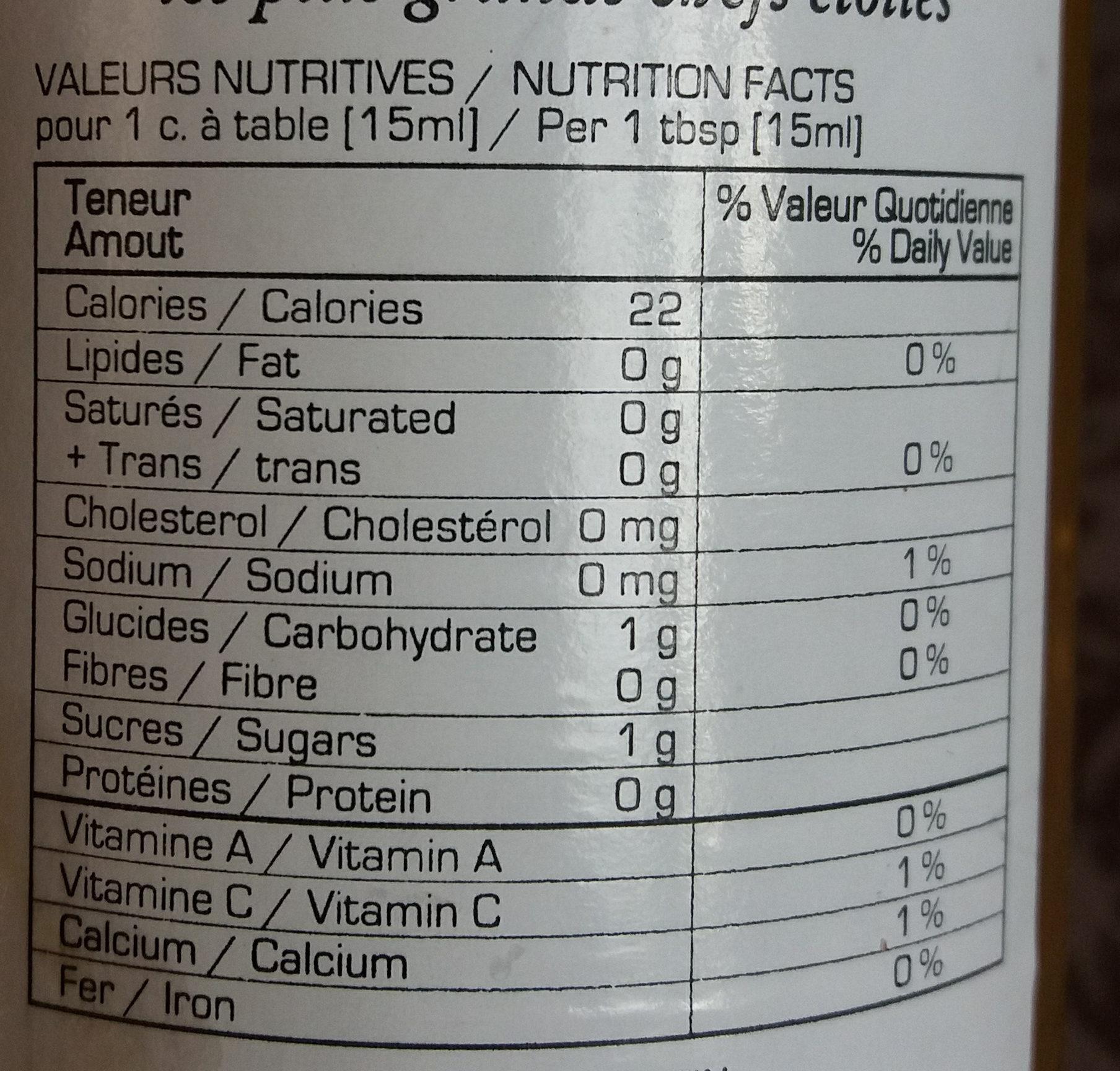 Authentique vinaigre de miel - Voedingswaarden - fr