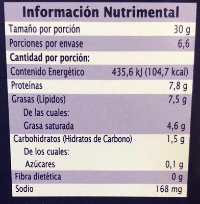 Queso tipo provolone rebanado ahumado - Nutrition facts - es
