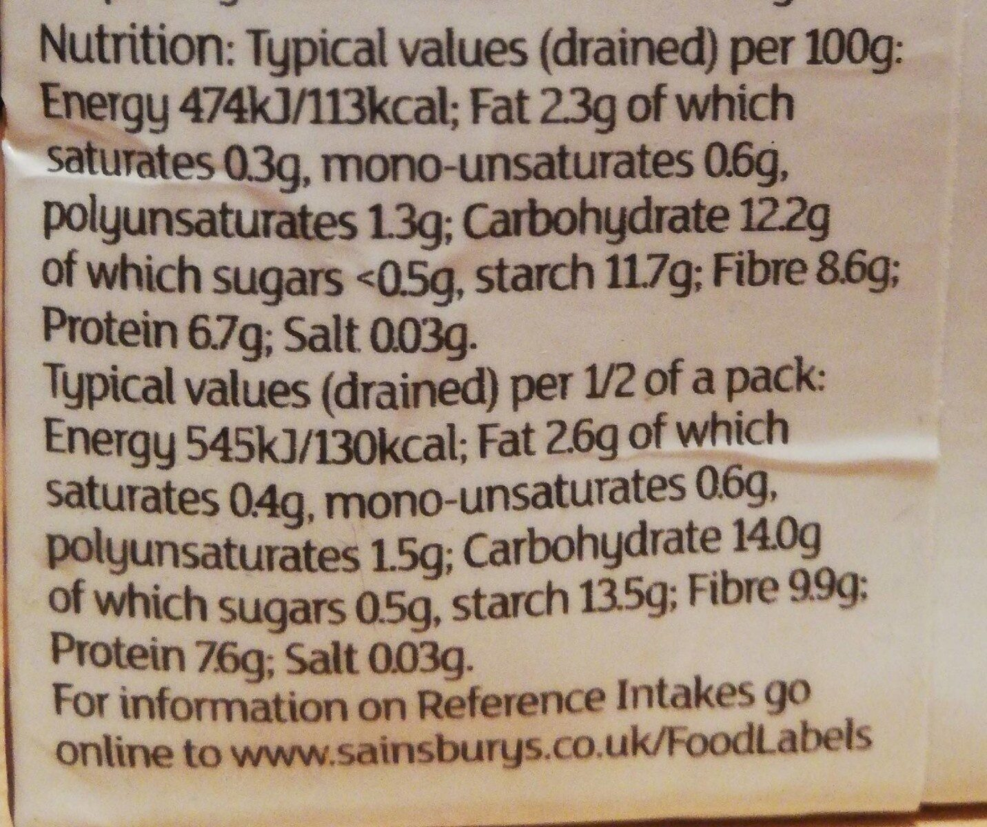 Chickpeas in water - Nutrition facts