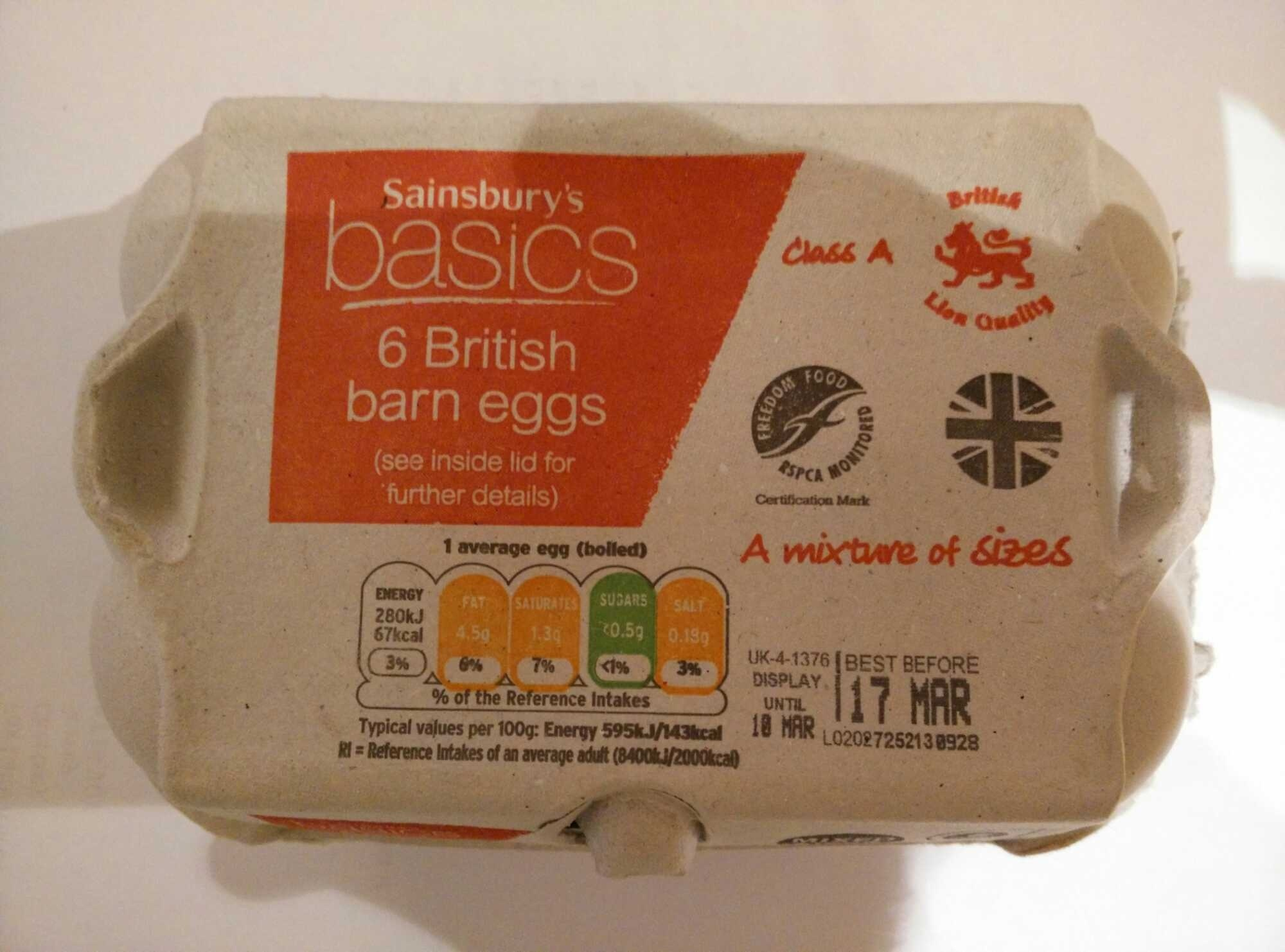 6 British barn eggs - Produit - en