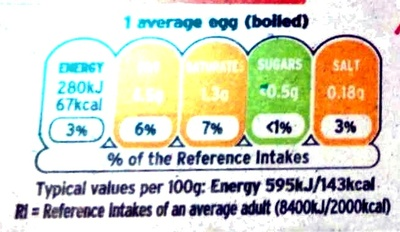 6 British barn eggs - Informations nutritionnelles - en