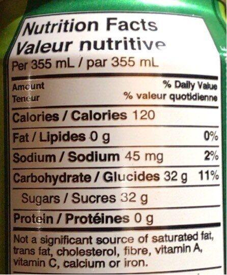 Schweppes ginger ale - Informations nutritionnelles - fr