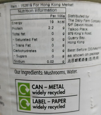 Sliced button mushrooms in water - Informations nutritionnelles