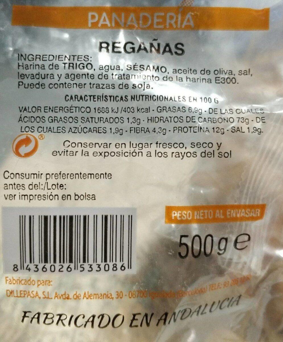 Regañas (panadería) - Valori nutrizionali - es