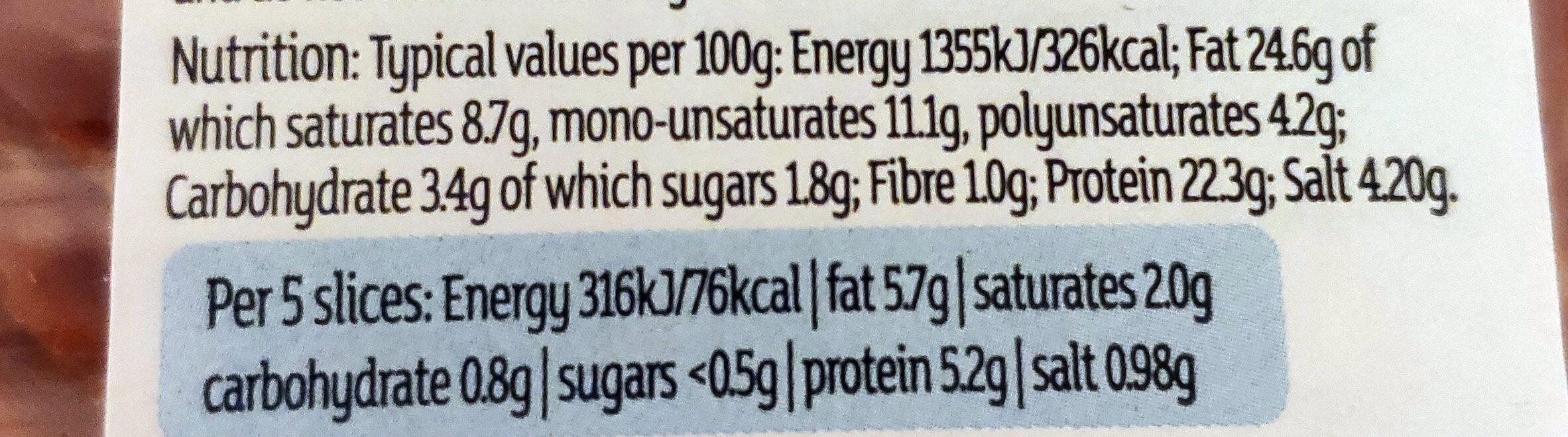 Chorizo slices - Nutrition facts - en