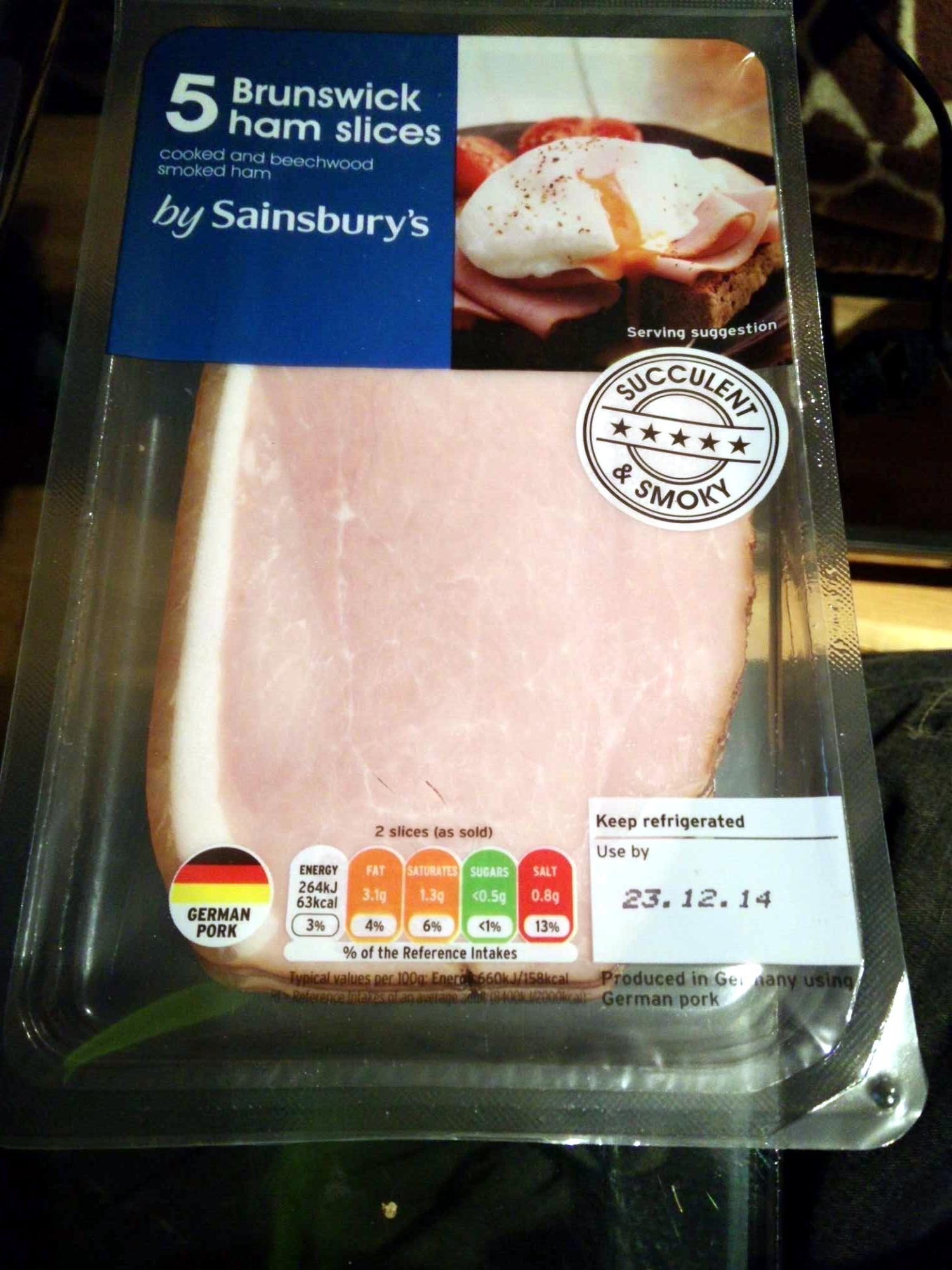 Brunswick ham sliced cooked and beechwood smoked ham - Product - en