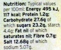 Dark soy sauce - Informations nutritionnelles - en