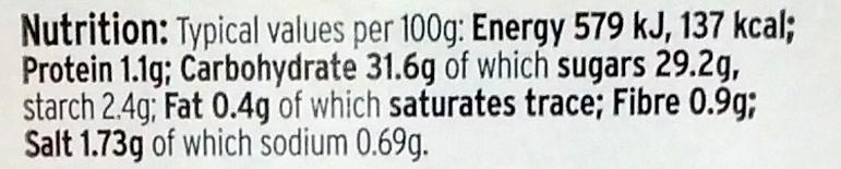 Tomato Relish - Informations nutritionnelles - en