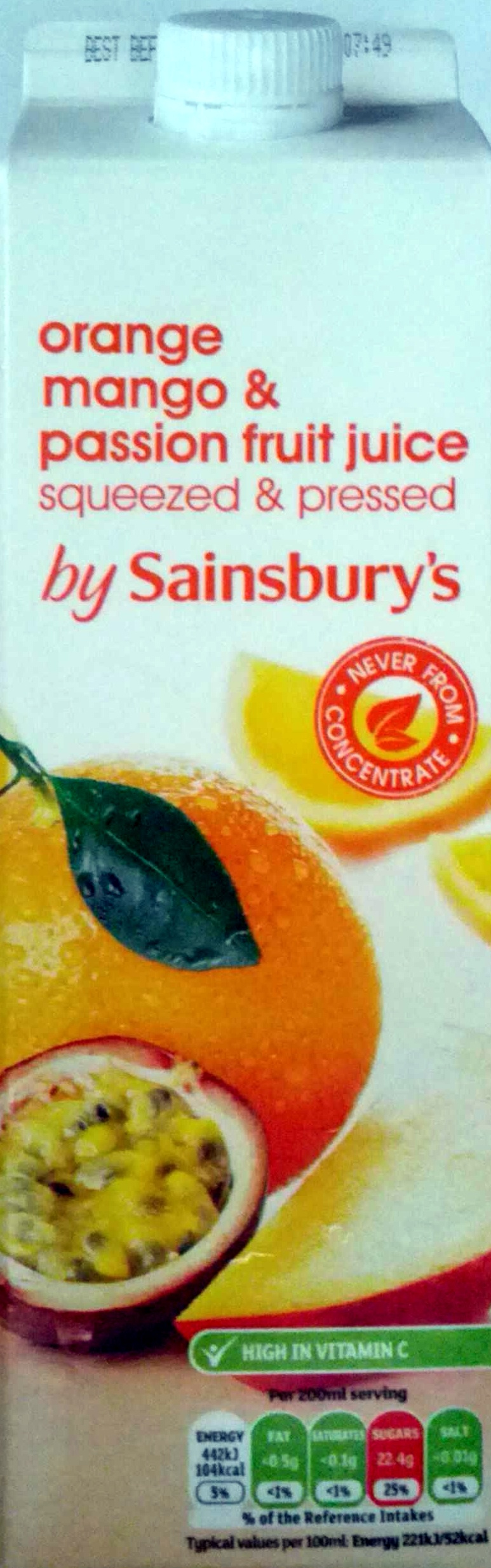 Orange, mango & passion fruit juice squeezed and pressed - Produit - en