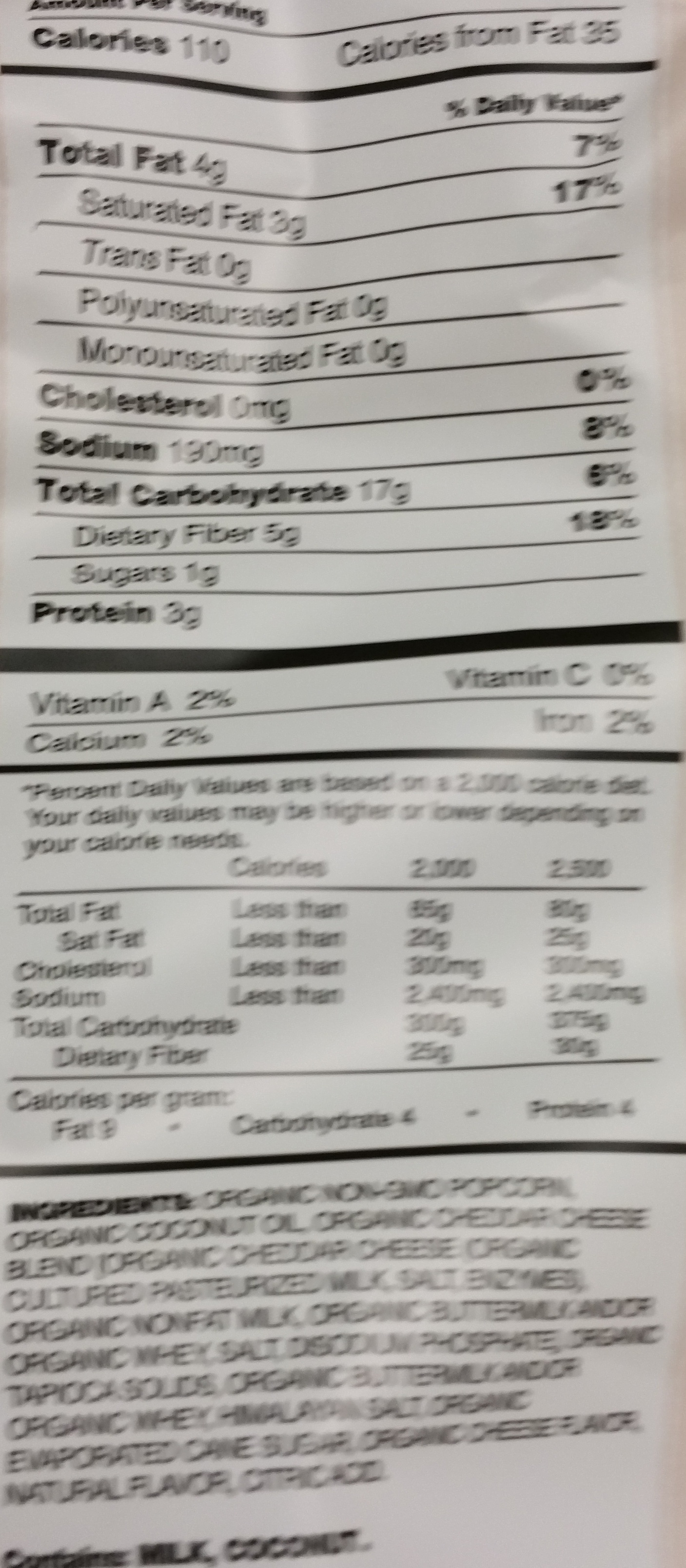 Classic cheddar - Nutrition facts