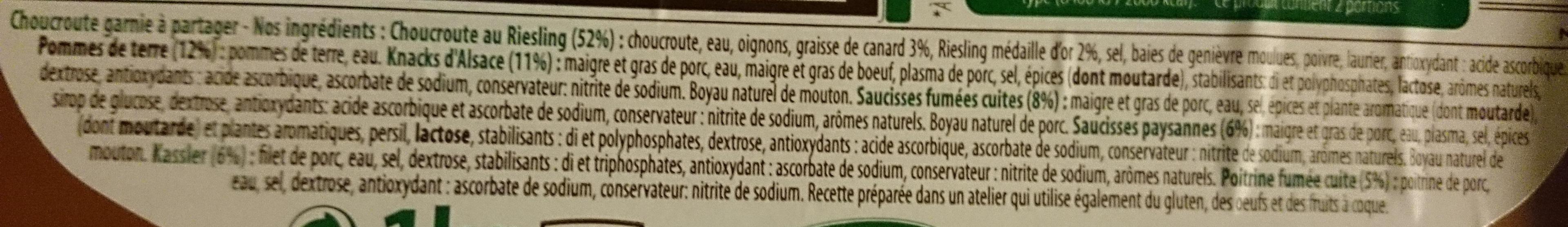 La Choucroute du temps retrouvé - Ingrédients - fr