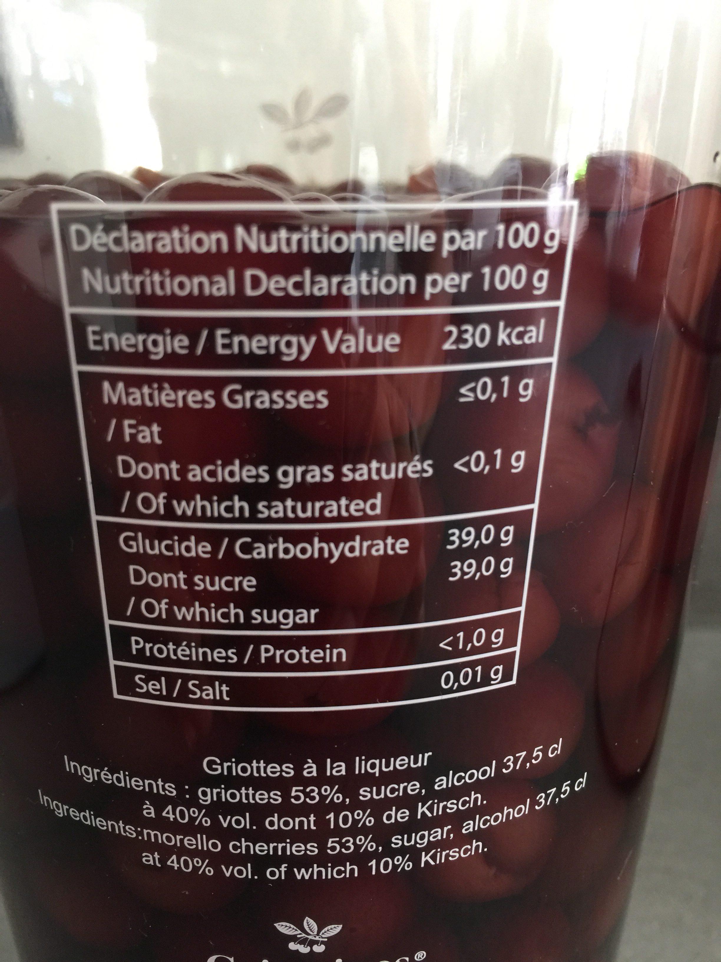 Griottines - Ingrediënten