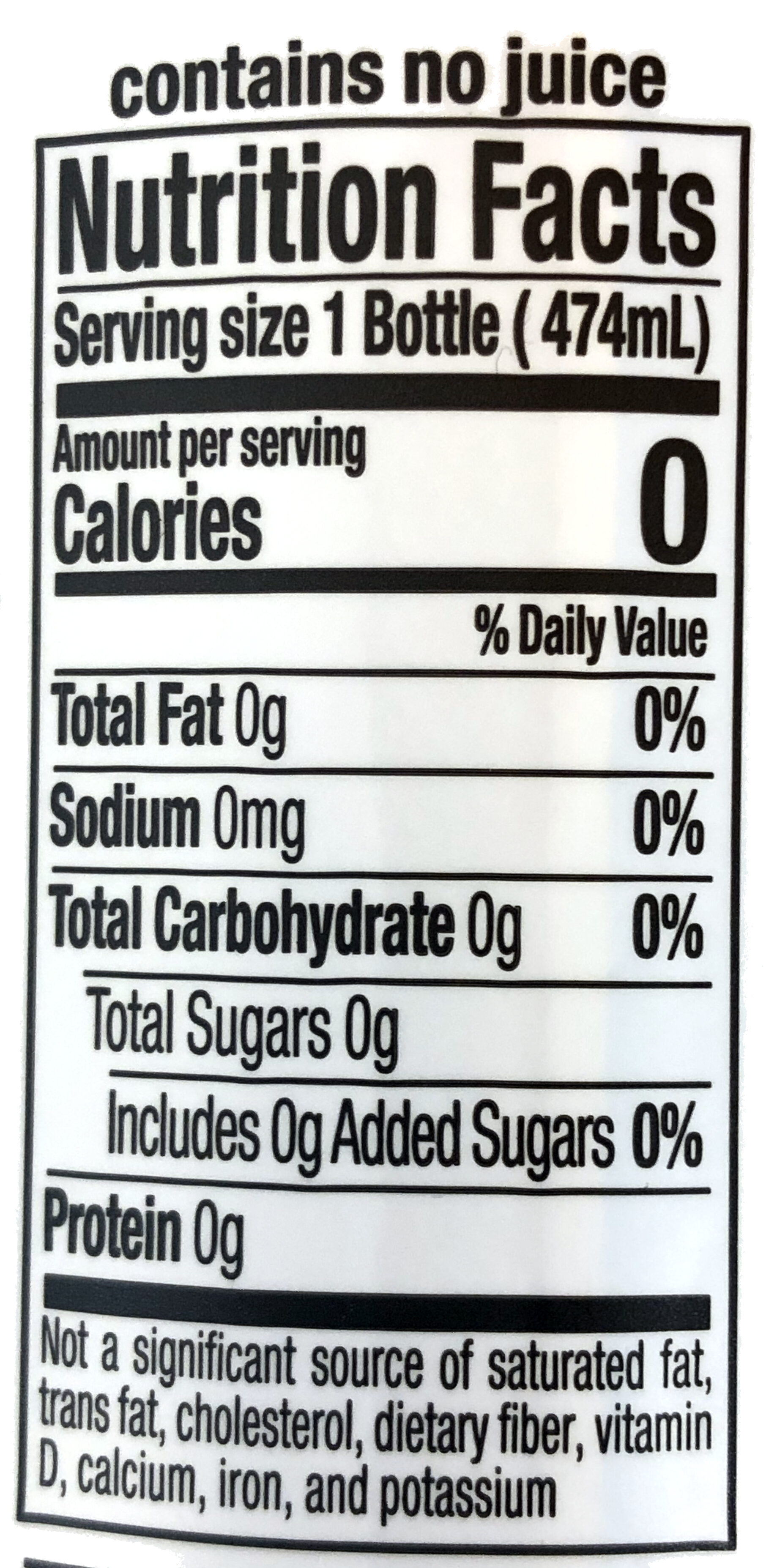 Water infused with raspberry essence, raspberry - Nutrition facts - en