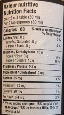 Damn! Sauce BBQ Mississipi - Nutrition facts - fr
