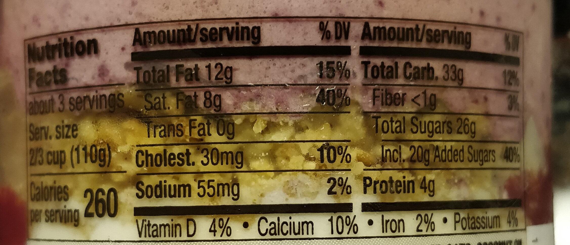 Black Raspberry Vanilla Parfait - Nutrition facts