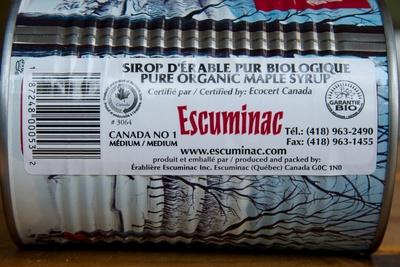 Sirop d'érable pur biologique Escuminac - Ingrediënten - fr