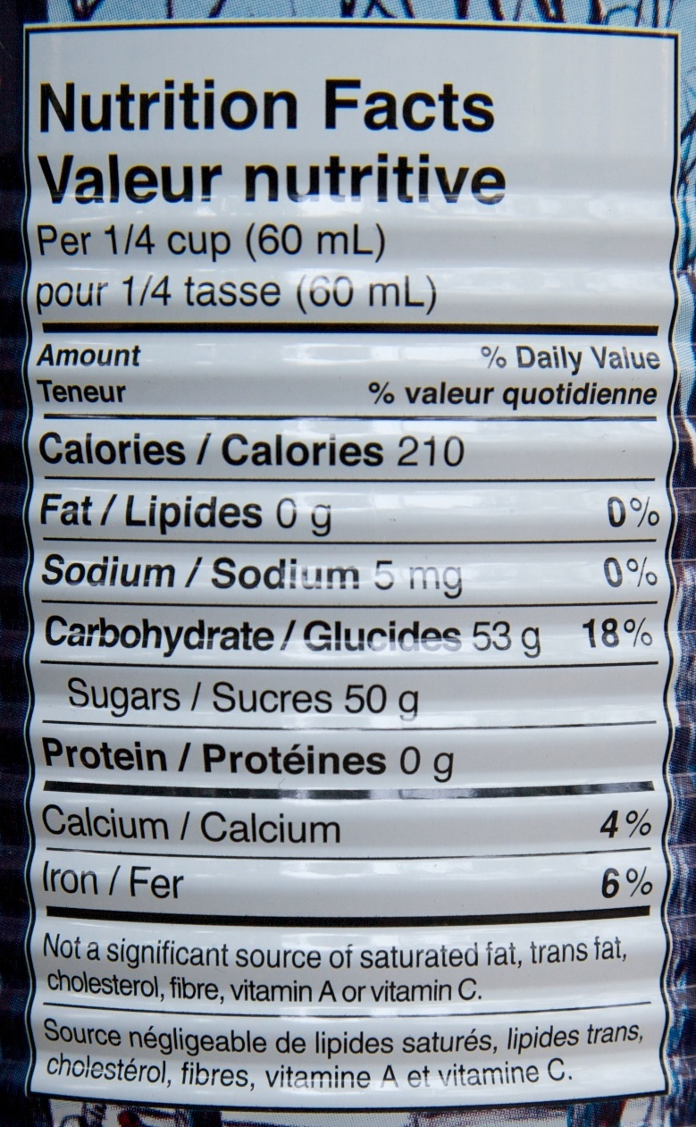 Sirop d'érable pur biologique Escuminac - Voedingswaarden - fr