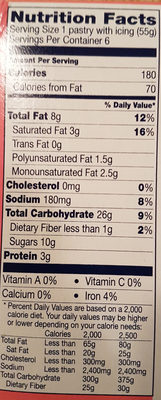 Toaster Strudel - Informations nutritionnelles - en