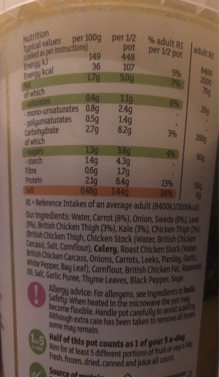 Chicken & Vegetable broth - Informations nutritionnelles