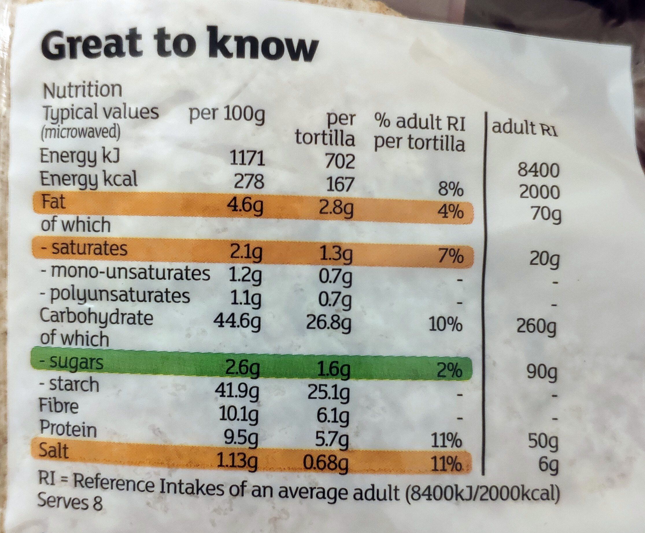 Wholemeal Tortilla Wraps - Valori nutrizionali - en