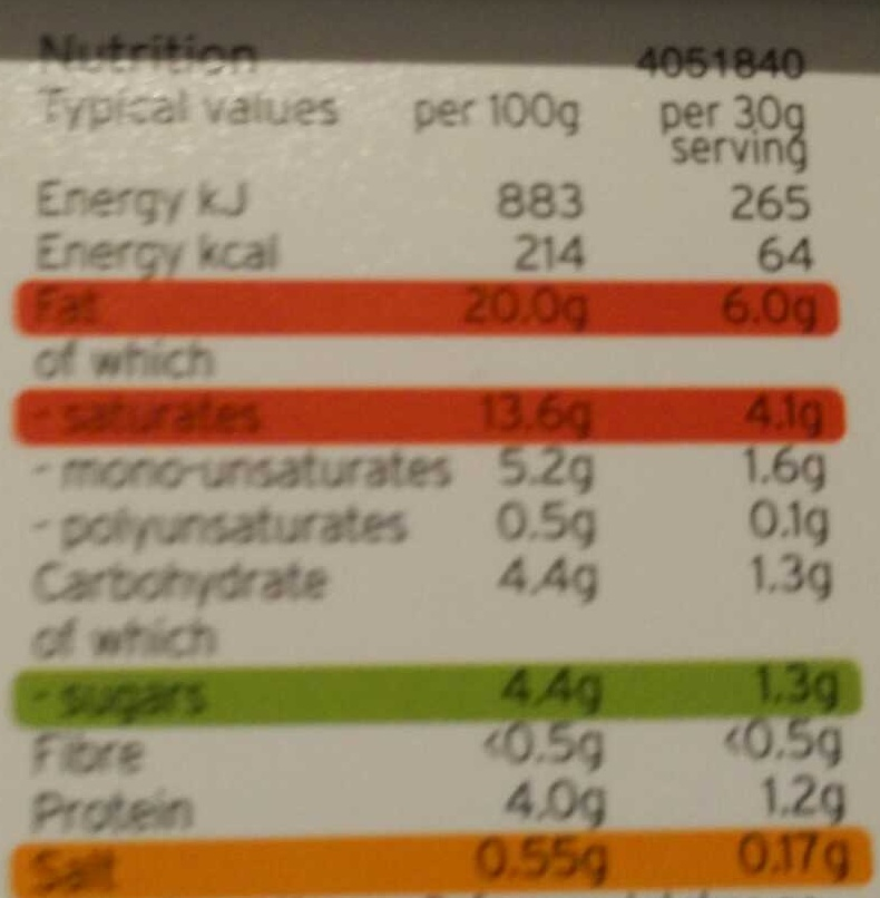 soft cheese - Nutrition facts