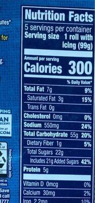 Grands cinnamon rolls - Nutrition facts - en