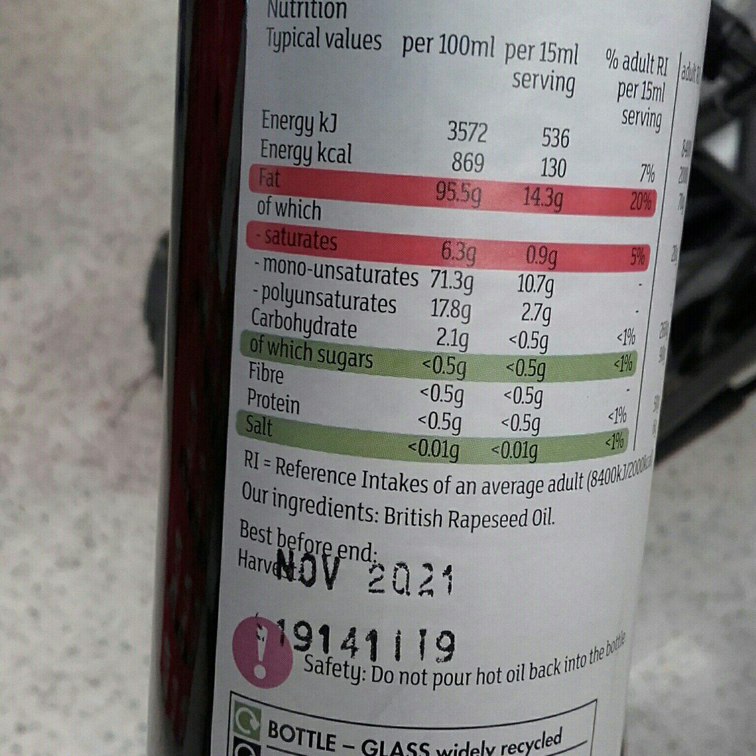 British cold pressed rapeseed oil - Ingredienti - en