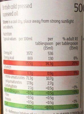 British cold pressed rapeseed oil - Valori nutrizionali - en