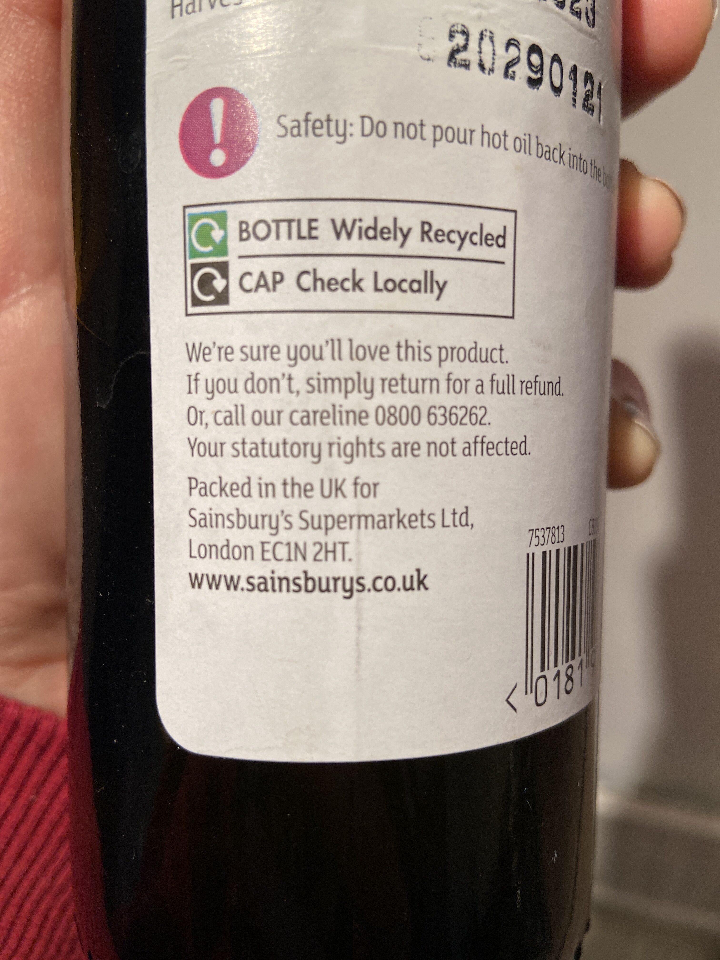 British cold pressed rapeseed oil - Istruzioni per il riciclaggio e/o informazioni sull'imballaggio - en